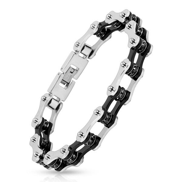 Motorcycle Chain with Black Inner Plate Black Gem Link 316L Stainless Steel Biker Bracelet (13.4 mm) - 9 in
