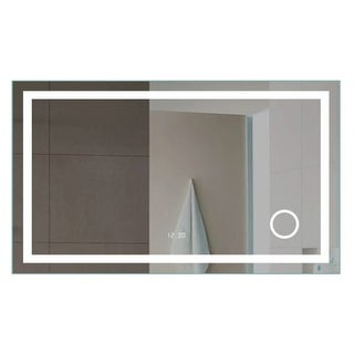 """Miseno MM4835LEDMR 48"""" W x 35"""" H Rectangular Frameless Wall Mounted Mirror with LED Lighting, Built-In Magnifier, and Digital"""