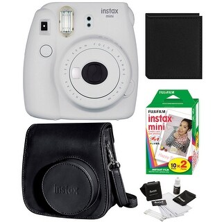 Fujifilm Instax Mini 9 (Smokey White) w/ Groovy Case & Film Bundle