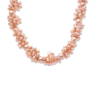 Pink Freshwater Pearl Cluster Necklace with Sterling Silver Clasp
