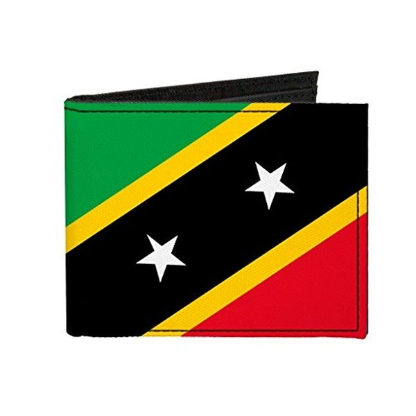 Buckle-Down Canvas Bi-fold Wallet - Saint Kitts and Nevis Flag Accessory