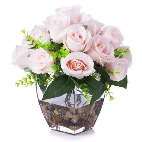 Enova Home Artificial 18 Heads Fake Silk Pink Roses Flowers Arrangement in Clear Glass Vase with River Rock for Home Decor