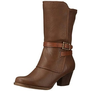 Baretraps Womens Roxie Mid-Calf Boots Faux Leather Buckle