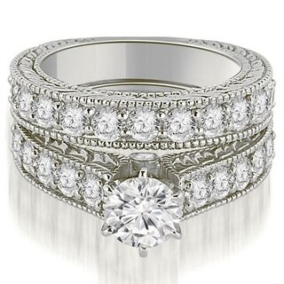 2.65 CT.TW Antique Cathedral Round Cut Diamond Engagement Set in 14KT - White H-I