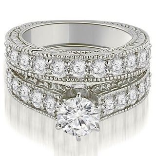 2.90 CT.TW Antique Cathedral Round Cut Diamond Engagement Set in 14KT - White H-I