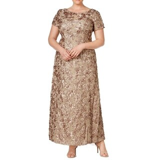 Alex Evenings Beige Women Size 16W Plus Rose Embroidered Ball Gown