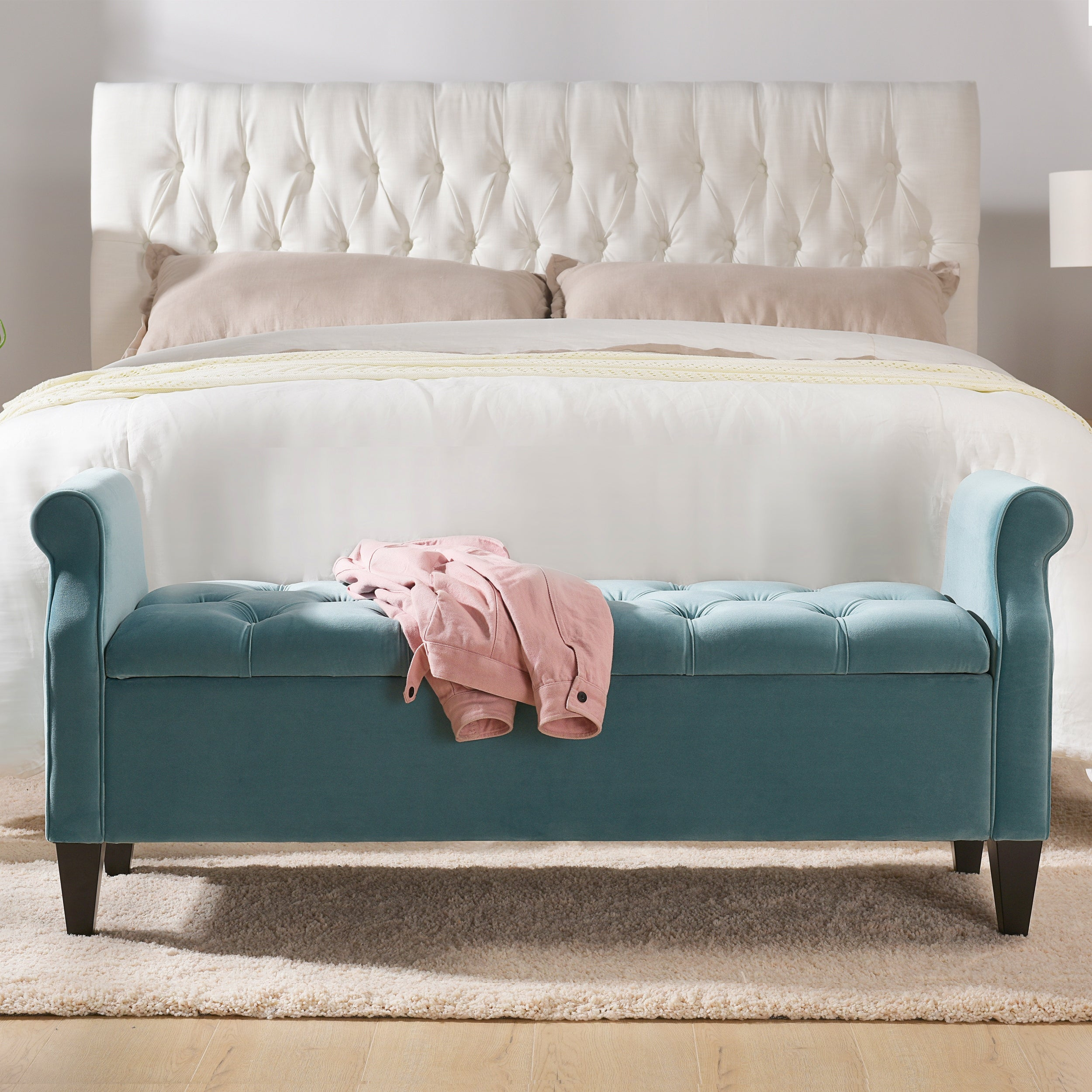 Copper Grove Amalfi Tufted Storage Bench With Rolled Arms On Sale Overstock 28387222