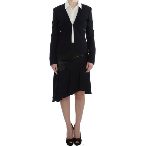 EXTE EXTE Black Blue Two Piece Suit Skirt & Blazer