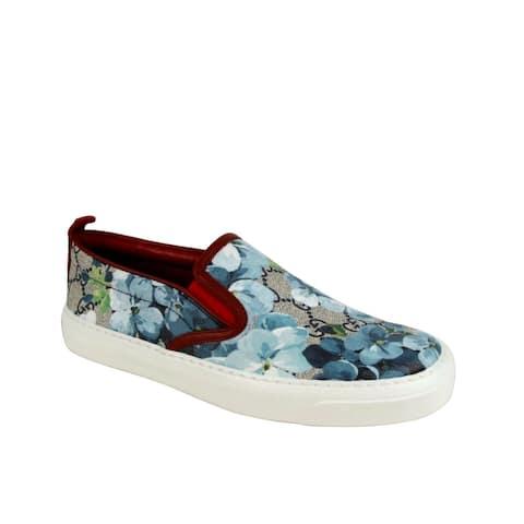Gucci Women's Blue Bloom Supreme Canvas Slip On Sneaker 546150 8469