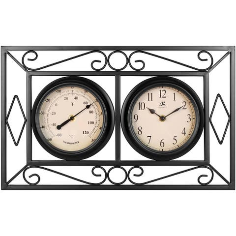 The Bookend 20 inch Rectangle Wall Clock/Thermometer Indoor/Outdoor Decor