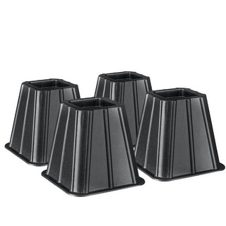 Set of 4 Bed Risers Raise Furniture Create Underbed Storage - Black