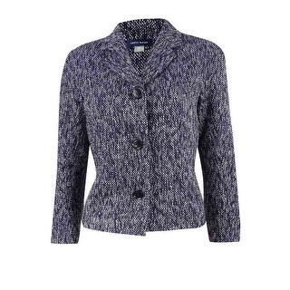 Tommy Hilfiger Women's Tweed Three Button Blazer - Blue Multi