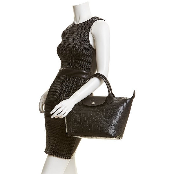 Longchamp Le Pliage Cuir Small Croc-Embossed Leather Short ...