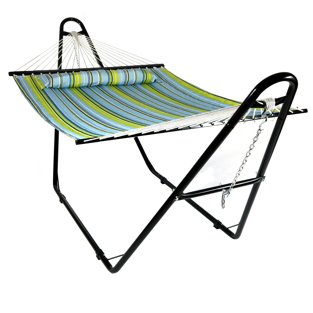 Sunnydaze Quilted Double Fabric 2-Person Hammock with Multi-Use Universal Stand - Thumbnail 1