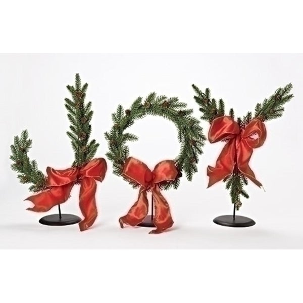 """3 Piece Set Green and Red Joy Tabletop 17"""""""
