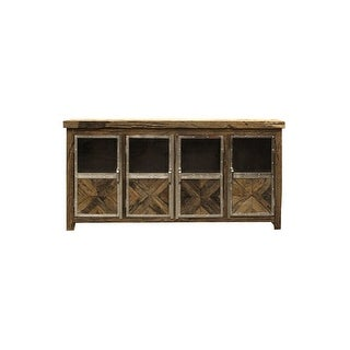 """Harp and Finial HFF2275  Ayers 80"""" Wide Four Door Wood Sideboard - Reclaimed Wood / Chrome"""