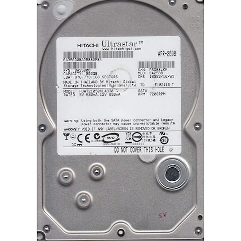 "Hitatchi HUA721050KLA330-NDW-RC 500GB 7.2K RPM 3.5"" SATA(Refurbished)"