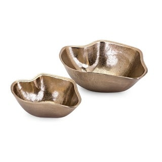 "Set of 2 Golden Brown Table-Top Decorative Glossy Finish Wavy Bowls 14"" - N/A"