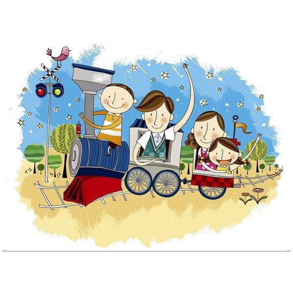 """Happy family travelling in Train"" Poster Print"