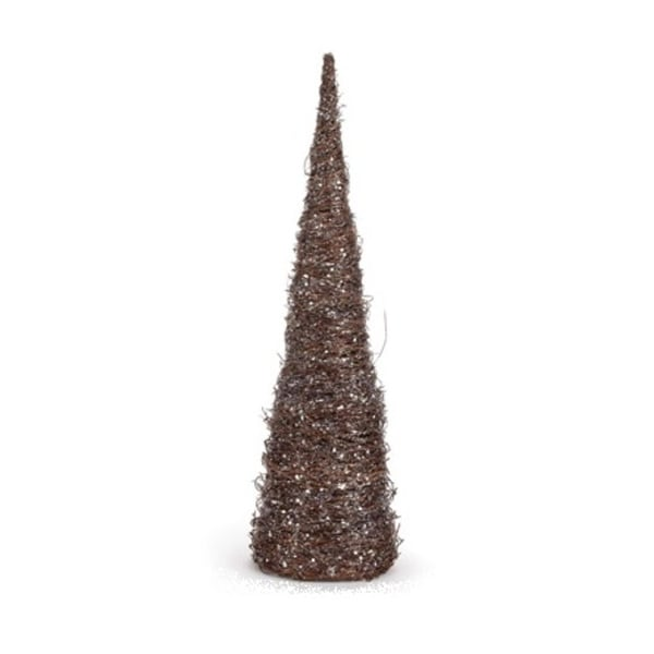 "18"" Brown and Silver Glitter Ice Vine Cone Christmas Tree Table Top Decoration"