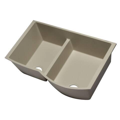 """ALFI brand AB3320UM-B Biscuit 33"""" Double Bowl Undermount Granite Composite Kitchen Sink"""