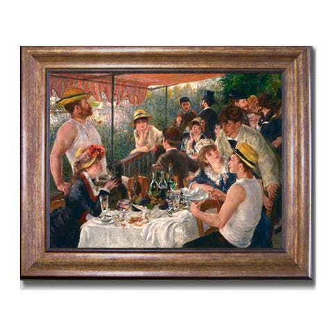Luncheon of the Boating Party by Pierre Auguste Renoir Bronze-Gold Framed Canvas Art (22 in x 28 in Framed Size)