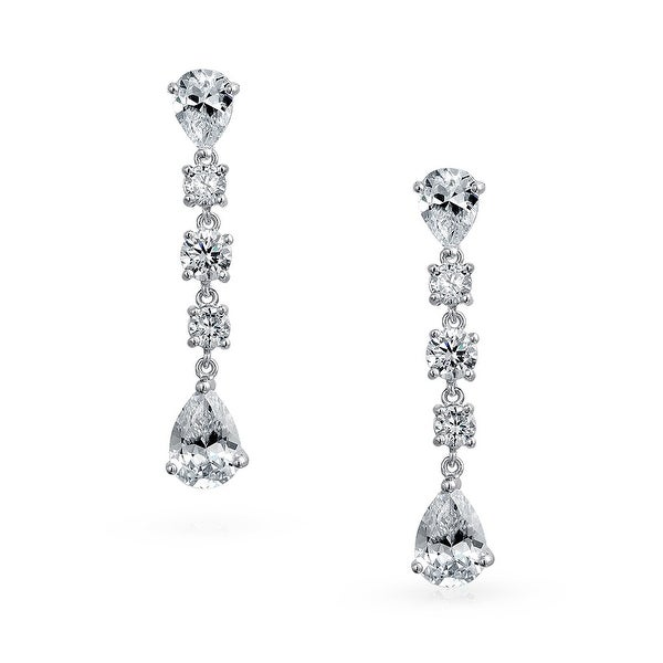 aae4acba5 Shop Linear Mix-Shaped Cubic Zirconia Bridal Wedding Prom Holiday Dangle  Chandelier Earrings For Women 925 Sterling Silver - On Sale - Free Shipping  On ...