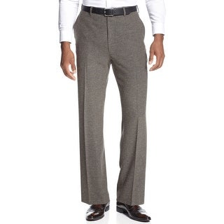Sean John Mens Donegal Dress Pants 38 x 34 Brown Flat Front and Hemmed