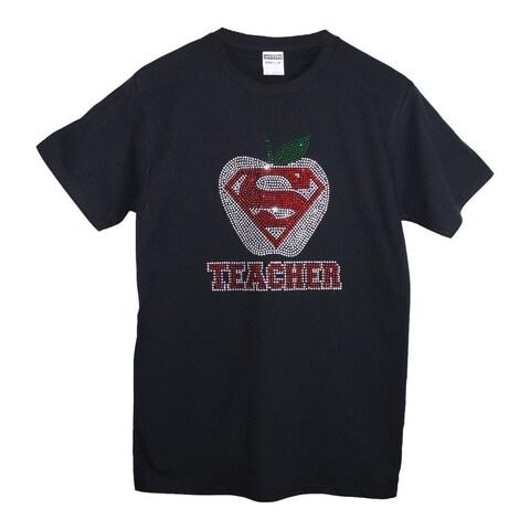 Womens Black Super Teacher Studded Detail Short Sleeved Cotton T-Shirt