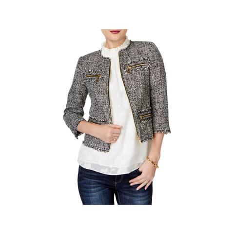 MICHAEL Michael Kors Womens Blazer Tweed Cropped