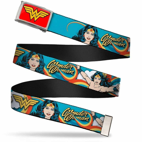 Wonder Woman Logo Fcg Red Chrome Wonder Woman Poses Rainbow Swirl Blue Web Belt