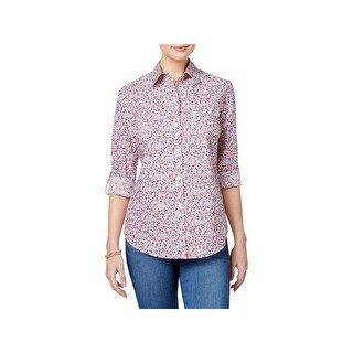 Karen Scott Womens Petites Casual Top Printed Button Down
