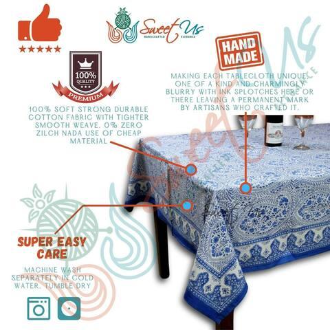Cotton Block Print Floral Paisley Tablecloth Round, Rectangle, Square Blue White