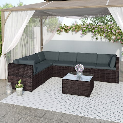 7-Piece Patio Furniture Set Outdoor Sectional Conversation Set with Soft Cushions (Brown)