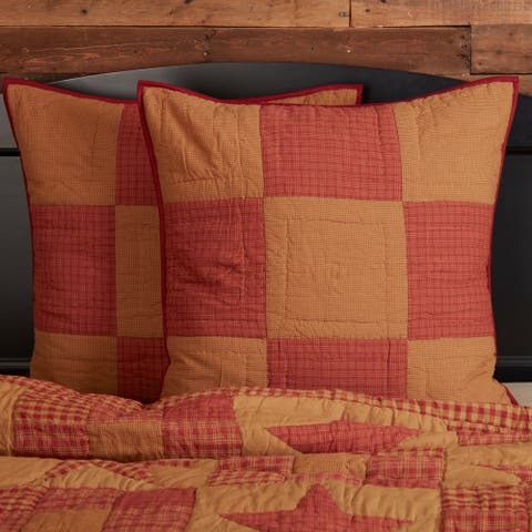 Ninepatch Star Quilted Euro Sham 26x26