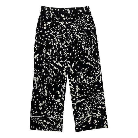 ALFANI Womens Black Pocketed Printed Straight leg Pants Size L