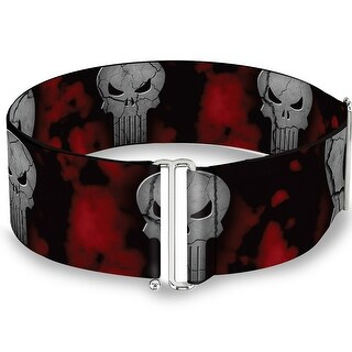 Stone Punisher Logo Scattered Black Red Gray Cinch Waist Belt   ONE SIZE - One Size Fits most