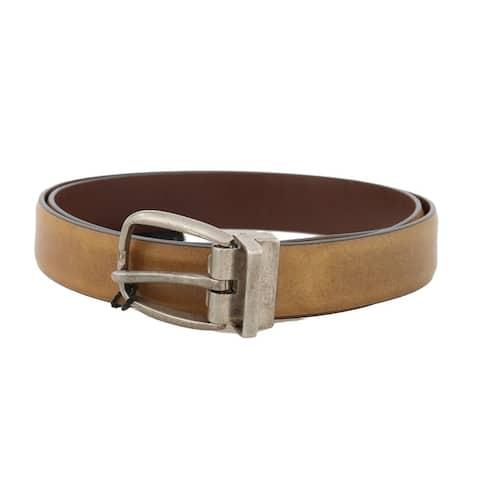 Dolce & Gabbana Yellow Leather Gray Vintage Buckle Men's Belt
