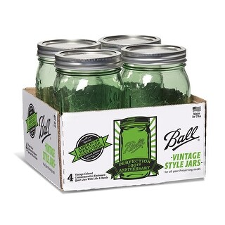 Ball 1440069110 Jar with Lids and Bands (4 Pack), Wide Mouth quart, Green