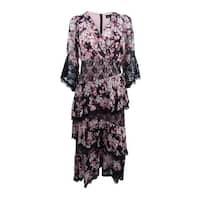JAX Women's Lace-Trim Midi Dress - Black Multi
