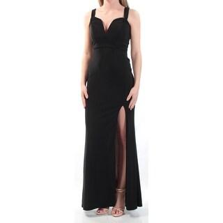 Womens Black Pink Short Sleeve Maxi Sheath Evening Dress Size: 1