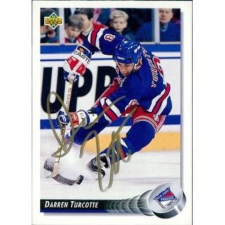 Signed Turcotte Darren New York Rangers 1992 Upper Deck Hockey Card autographed