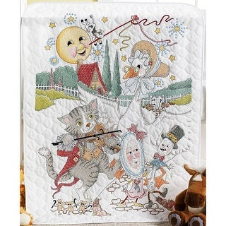 "Classic Mother Goose Crib Cover Stamped Cross Stitch Kit-34""X43"""