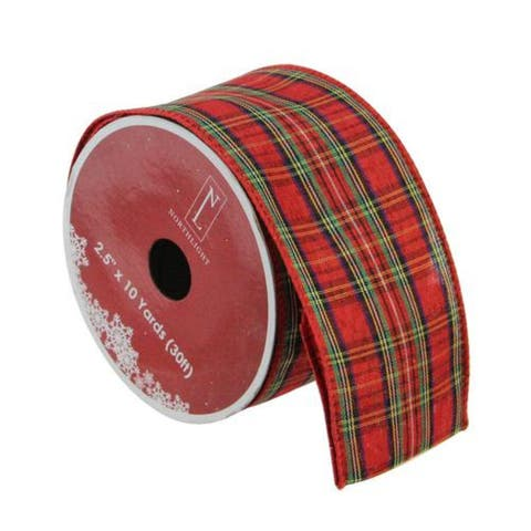 """Red and Green Plaid Wired Christmas Craft Ribbon 2.5"""" x 10 Yards"""