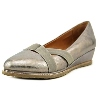 Gentle Souls Newman Women Open Toe Leather Silver Wedge Heel