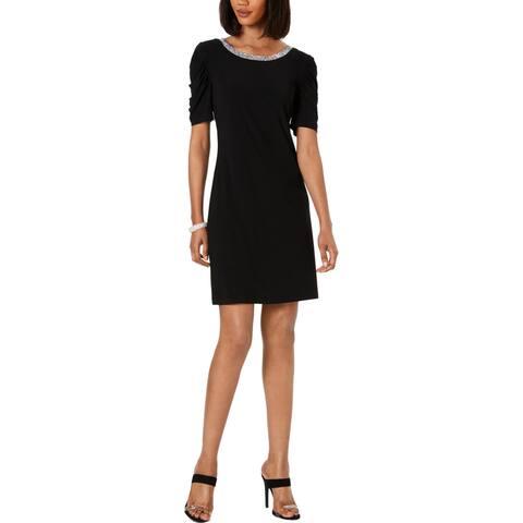 MSK Womens Cocktail Dress Embellished Knee-Length - Black
