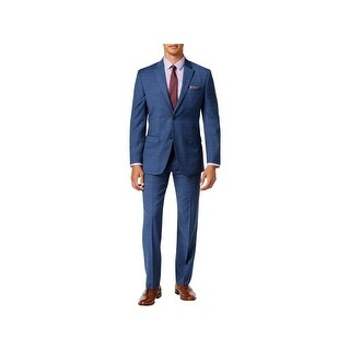 Tommy Hilfiger Mens Two-Button Suit Wool Checkered - 40l