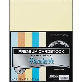 """Core'dinations Value Pack Smooth Cardstock 8.5""""X11"""" 50/Pkg-Beachside Assortment"""