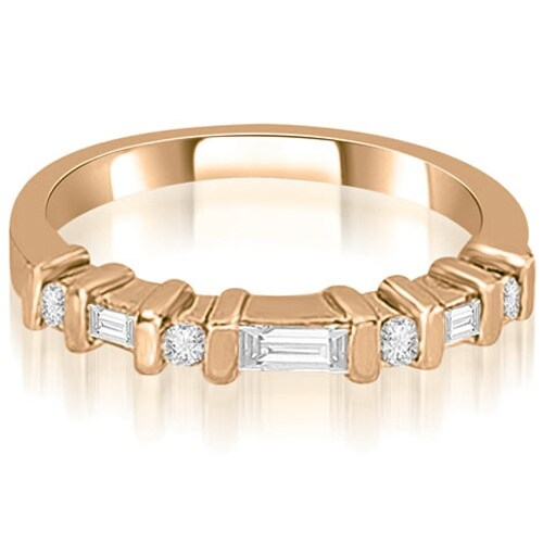0.35 cttw. 14K Rose Gold Round and Baguette Diamond Wedding Band