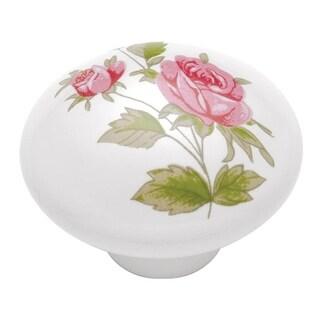 "Hickory Hardware P602 English Cozy 1-3/8"" Diameter Mushroom Cabinet Knob - Pink Rose - n/a"